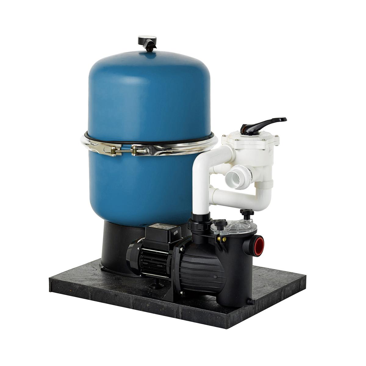 "Compact filter set GRAZ D400 2-parts, blue, incl. original  Praher 6-way valve 1 1/2"", incl. pump 0,16 kW(0,25 HP) 6 m3/H Compact filter set GRAZ D400 2-parts, blue, incl. original  Praher 6-way valve 1 1/2"", incl. pump 0,16 kW(0,25 HP) 6 m3/H"