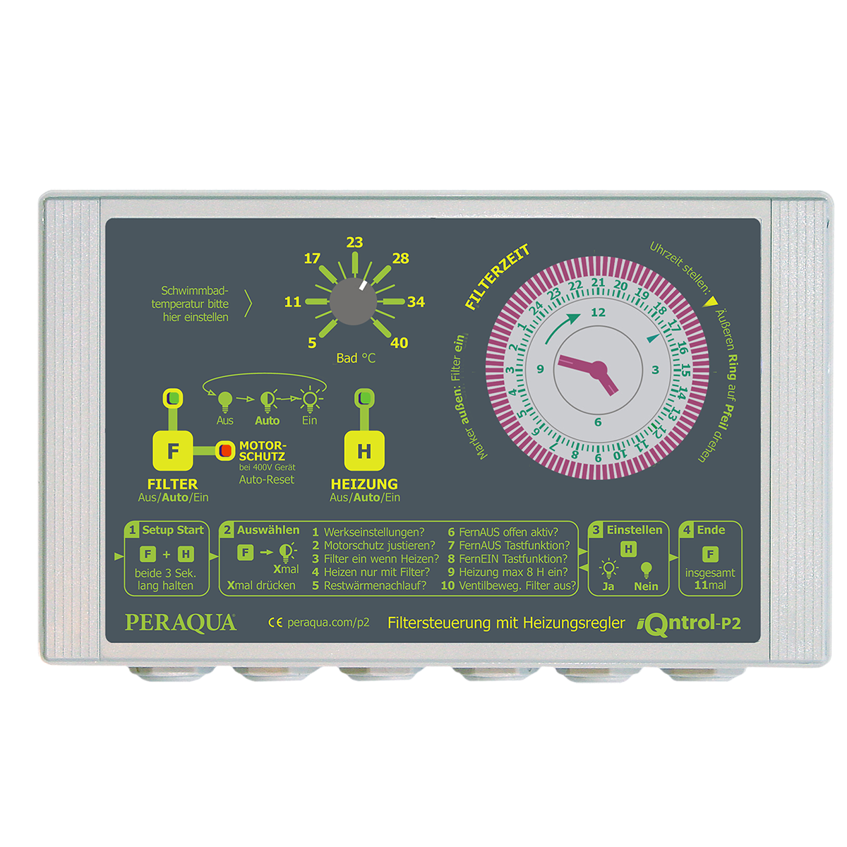 """iQntrol-P2 pump control incl. heating 230 with temp. adjustment manually, without motor protection, with temp. sensor brass chromed d10 and housing for sensor ½"""" iQntrol-P2 pump control incl. heating 230 with temp. adjustment manually, without motor protection, with temp. sensor brass chromed d10 and housing for sensor ½"""""""