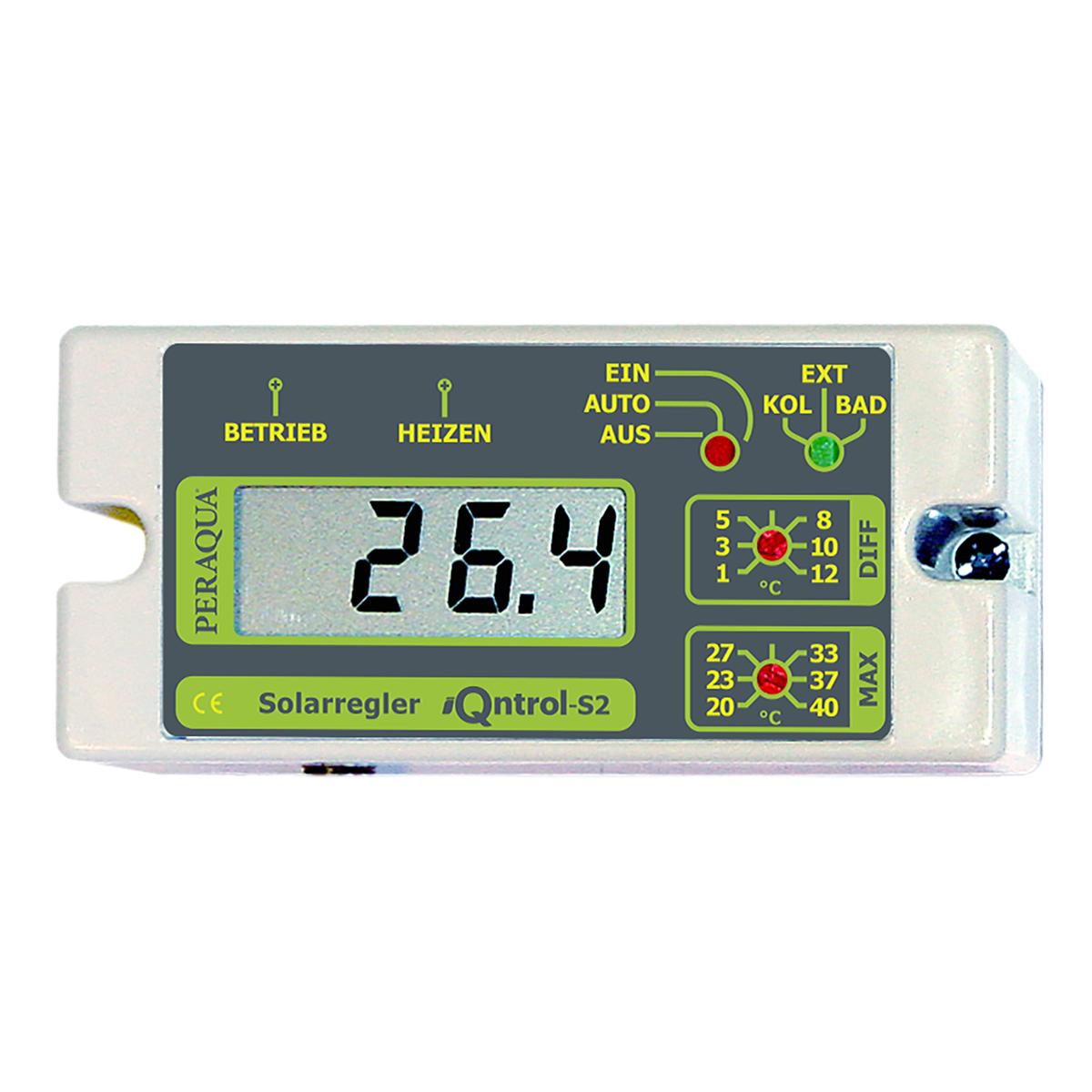 """iQntrol-S2 Solarsteuerung mit großer Digitalanzeige mit manueller Einstellung Tmax. (20-40°C), Schalter für Hand-, Aus-, und Automatikbetrieb, inkl. 2x Temperaturfühler undTauchhülse ½"""" iQntrol-S2 Solarsteuerung mit großer Digitalanzeige mit manueller Einstellung Tmax. (20-40°C), Schalter für Hand-, Aus-, und Automatikbetrieb, inkl. 2x Temperaturfühler undTauchhülse ½"""""""