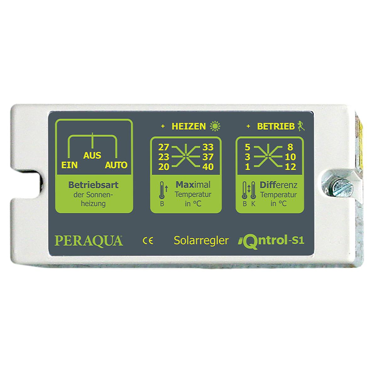 """iQntrol-S1 Solarsteuerung mit manueller Einstellung Tmax. (20-40°C), Schalter für Hand-, Aus-, und Automatikbetrieb, inkl. 2x Temperaturfühler und Tauchhülse ½"""" iQntrol-S1 Solarsteuerung mit manueller Einstellung Tmax. (20-40°C), Schalter für Hand-, Aus-, und Automatikbetrieb, inkl. 2x Temperaturfühler und Tauchhülse ½"""""""