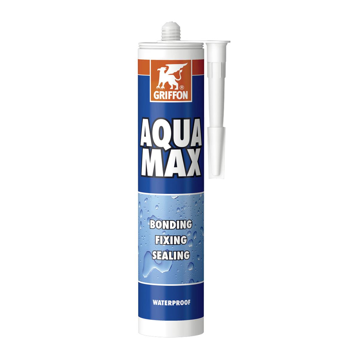 Aqua Max, wasserfester, lösungsmittelfreier Montageklebstoff und Dichtungskitt auf SMP-Polymer-Grundlage, 425 g, weiss Aqua Max, wasserfester, lösungsmittelfreier Montageklebstoff und Dichtungskitt auf SMP-Polymer-Grundlage, 425 g, weiss