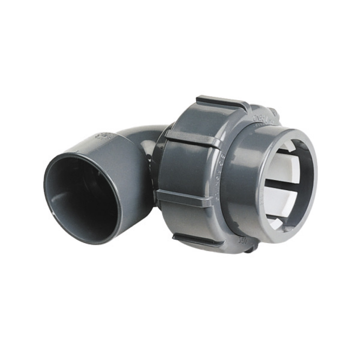 "Übergangswinkel FlexFit 90° PVC Klemm - IG d50-1 1/2"" BSP PN4 Übergangswinkel FlexFit 90° PVC Klemm - IG d50-1 1/2"" BSP PN4"