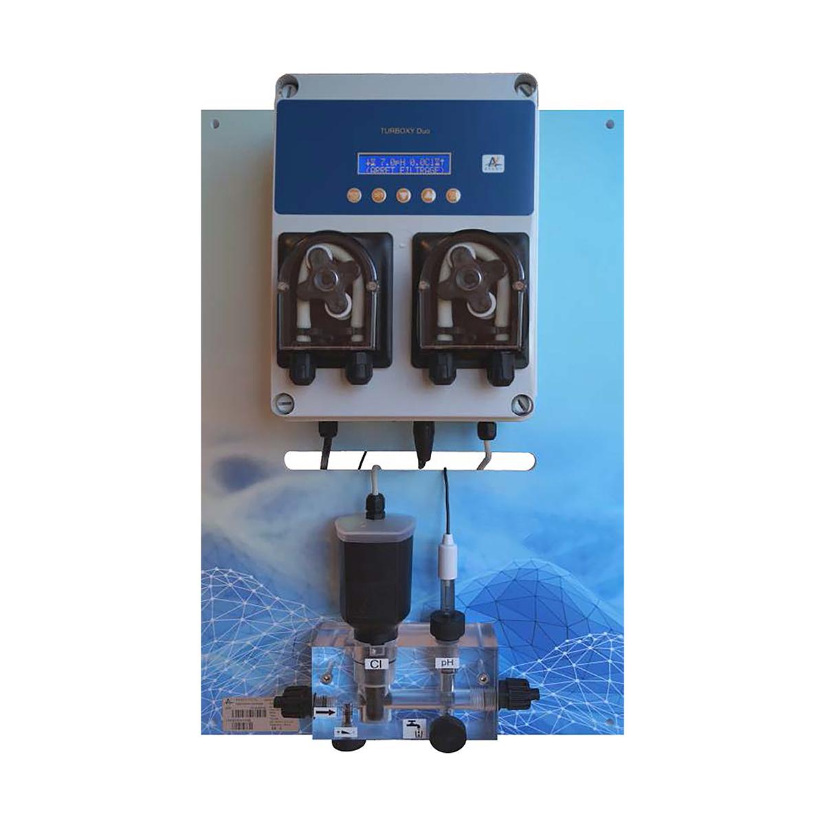 Smart Wasseraufbereitungssystem PAN-TURBOXY Duo pH 1,5 l/h Cl 3,0 l/h ppm (amperometrisch) Temp. freie Chlormessung inkl. WEB Anbindung, für private Schwimmbecken und öffentliche Becken, System auf Panele montiert Smart Wasseraufbereitungssystem PAN-TURBOXY Duo pH 1,5 l/h Cl 3,0 l/h ppm (amperometrisch) Temp. freie Chlormessung inkl. WEB Anbindung, für private Schwimmbecken und öffentliche Becken, System auf Panele montiert