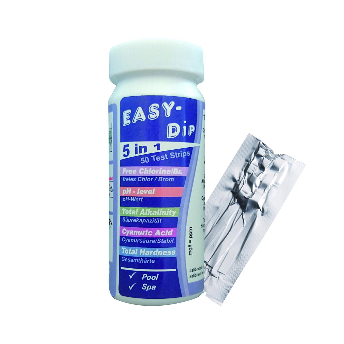 Teststreifen Smart 5 in 1, pH/Chlor/Brom/Gesamthärte/Cyanursäure und Gesamtalkalinität, 1 VE = 40 Dosen je 50 Streifen Teststreifen Smart 5 in 1, pH/Chlor/Brom/Gesamthärte/Cyanursäure und Gesamtalkalinität, 1 VE = 40 Dosen je 50 Streifen