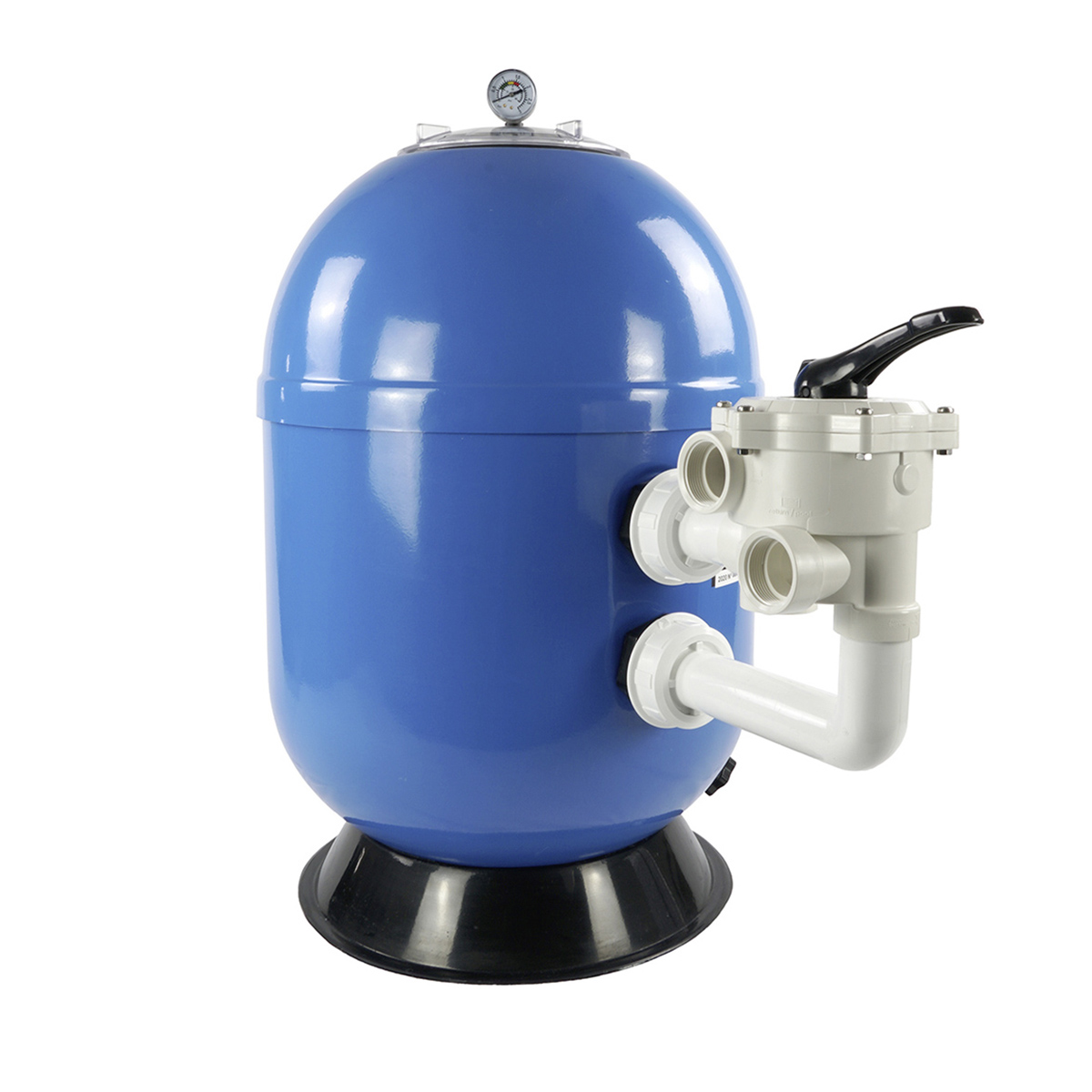 """Polyester filter VIENNA II laminated, side mount, blue, d620, cover screw type transparent, incl. manometer, piping kit and original Praher SM 1 ½"""" 6 manual way backwash valve Polyester filter VIENNA II laminated, side mount, blue, d620, cover screw type transparent, incl. manometer, piping kit and original Praher SM 1 ½"""" 6 manual way backwash valve"""