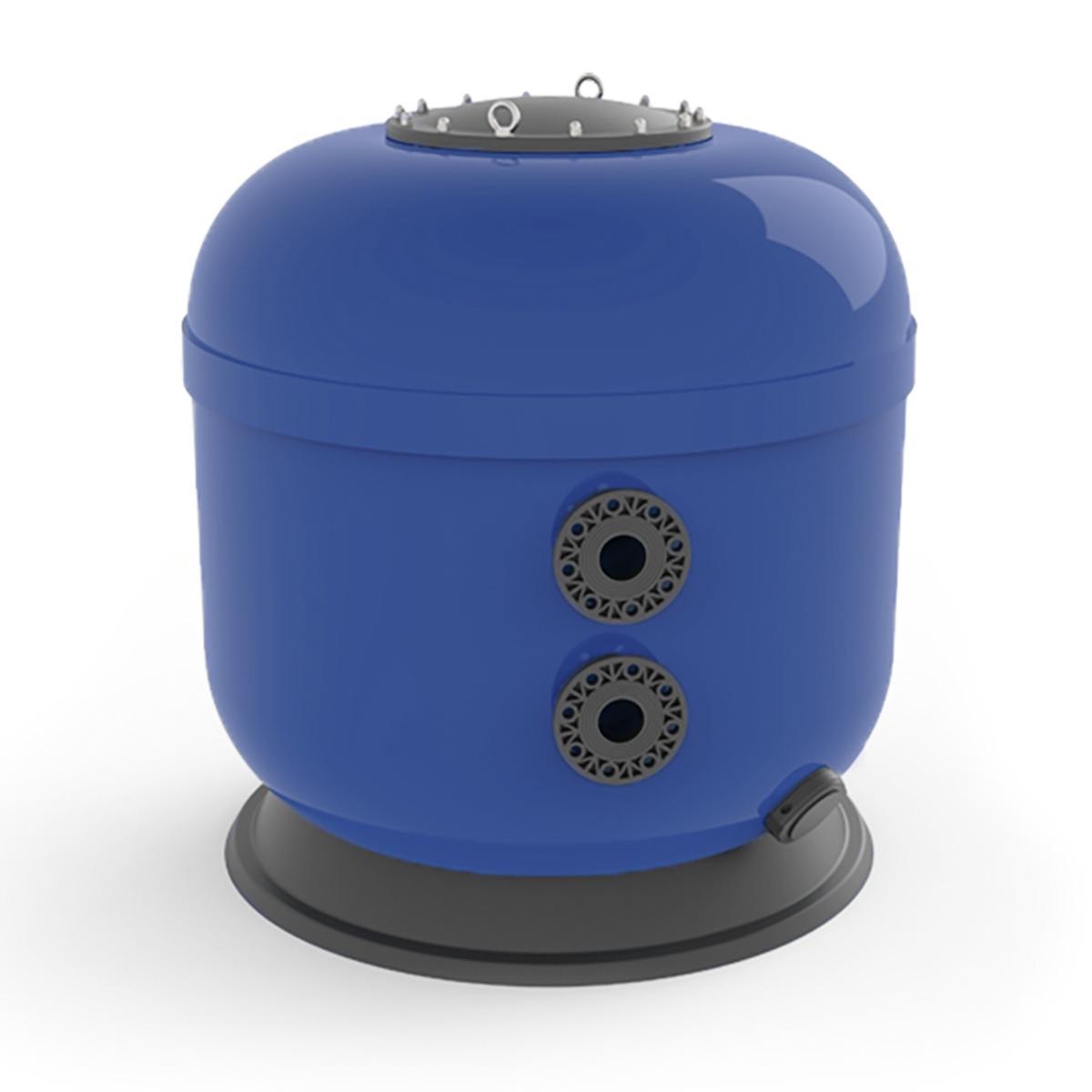 "Polyester Filter VIENNA II laminiert, side mount, blau, d950, GFK Deckel 400 mm schwarz inkl. 1"" Spülanschluss, Ablass d75 mm inkl. 1"" Entleerungsstopfen, Filtermediumhöhe 800 mm, PVC Flanschanschluss d75 mm Polyester Filter VIENNA II laminiert, side mount, blau, d950, GFK Deckel 400 mm schwarz inkl. 1"" Spülanschluss, Ablass d75 mm inkl. 1"" Entleerungsstopfen, Filtermediumhöhe 800 mm, PVC Flanschanschluss d75 mm"