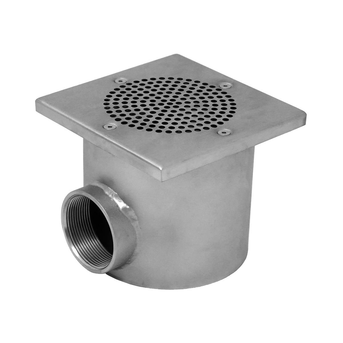 """Ocean® Main Drain V4A PRO """"Square"""" 150x150 mm, for liner, concrete- and tile pools, 2"""" female thread, brushed Ocean® Main Drain V4A PRO """"Square"""" 150x150 mm, for liner, concrete- and tile pools, 2"""" female thread, brushed"""
