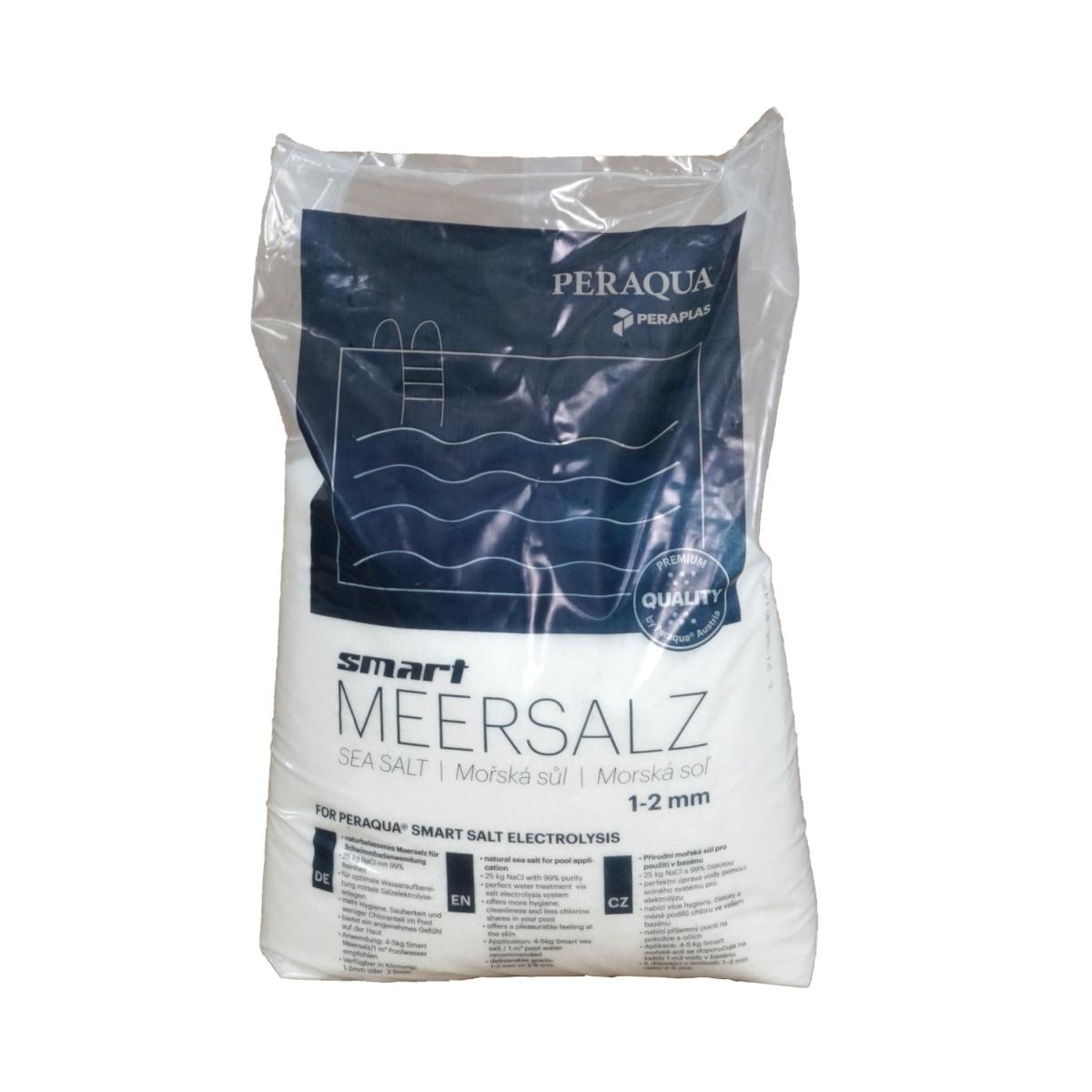 Smart Meersalz 1-2mm Körnung für die Verwendung in Verbindung mit Salzelektrolyseanlagen in Schwimmbadanlagen, 25 kg Sack Smart Meersalz 1-2mm Körnung für die Verwendung in Verbindung mit Salzelektrolyseanlagen in Schwimmbadanlagen, 25 kg Sack